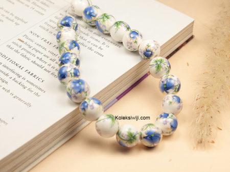 1 Untai Manik Keramik Motif Bunga Biru Muda 10 mm K119