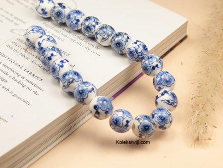 1 Untai Manik Keramik Motif Bunga Biru Tua 10 mm K115