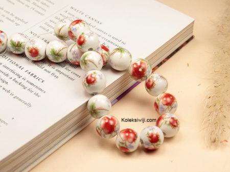 1 Untai Manik Keramik Motif Bunga Merah 10 mm K118