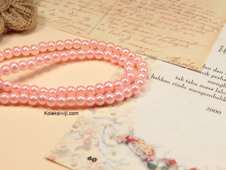 1 Untai Mutiara Sintetis Bulat 6 mm Soft Pink MS46