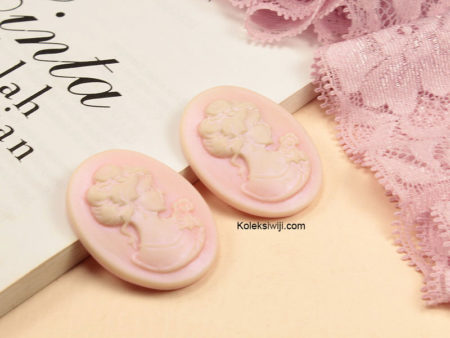1 Buah Resin Cameo Vintage Pink Pucat RS13