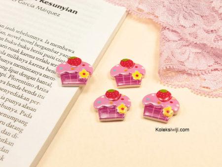 3 Buah Resin Cupcakes Ungu 2,1 x 1,9 cm RS27