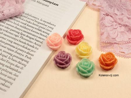 5 Buah Resin Bunga Mawar Gembul 2 cm RS85