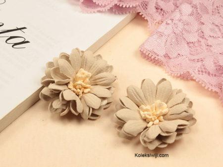 1 Buah Bunga Suede Aster Creame 4 cm IK92