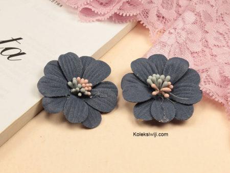 1 Buah Bunga Suede Daisy Biru Tua 4 cm IK78