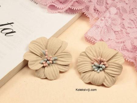 1 Buah Bunga Suede Daisy Creame 4 cm IK79