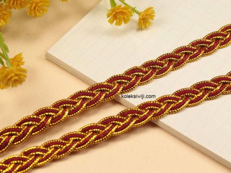 1 Yards Tali Kepang Merah Tepi Emas 1 cm TN12