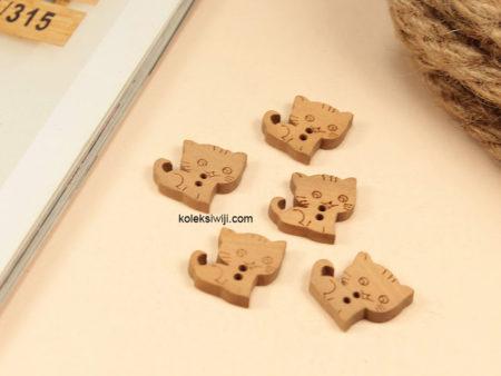 10 Buah Kancing Kayu Kucing 2 cm KK02