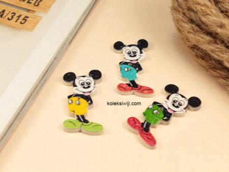10 Buah Kancing Kayu Mickey Mouse 3,5 cm KK12
