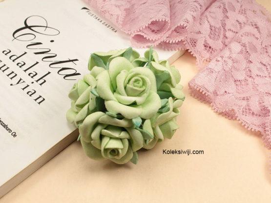 6 Tangkai Bunga Spon Hijau 3,5 cm IK47