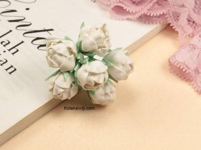 6 Tangkai Bunga Spon Mawar Kuncup Putih 2 cm IK40