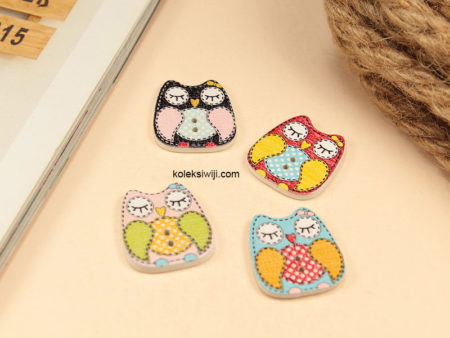 10 Buah Kancing Kayu Owl 2 cm KK107