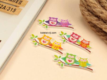 10 Buah Kancing Kayu Owl 4 cm KK105