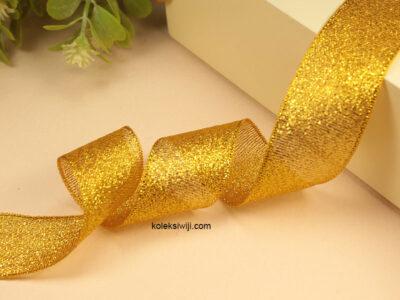 1 Roll Pita Glitter Kuning Emas 2,5 cm PT161