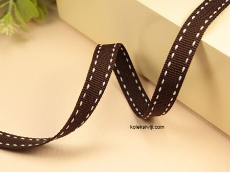 1 Yards Pita Strip 1 cm Coklat Tua PT168